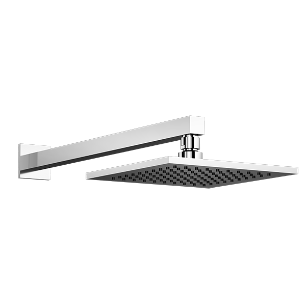All Brass Square 8″ Rain Head with Arm and Square Flange